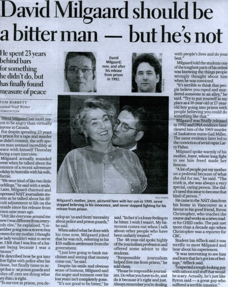 The Edmonton Journal story on David Milgaard appearing at NAIT to speak with my journalism students. April 2001. Click to enlarge.