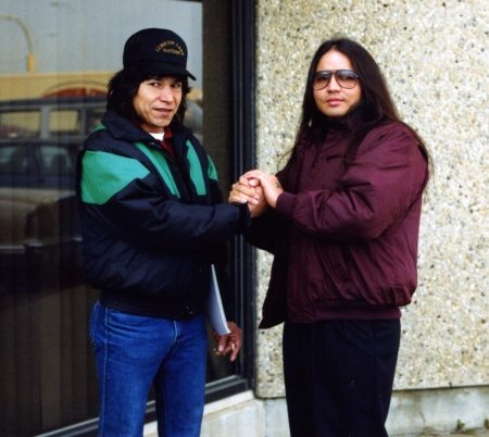 James Dean [Dino] Agecoutay [right] with Lubicon Cree Chief Bernard Ominayak in Edmonton. October 1990