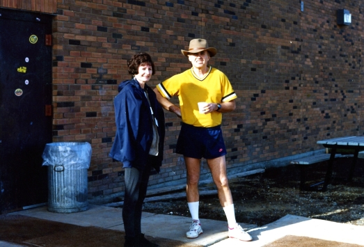 CBC Edmonton Radio Manager Judy Phantam with Inmate Colin Thatcher at the Edmonton Institution. [15 April 1993] I helped get the CBC into the Max to do our morning show. Phantom is wearing my jacket, Thatcher my hat.