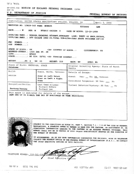 The fax sent out by the warden at United States Penitentiary [USP] Pollock. Notice the picture of McNair. Click to enlarge.