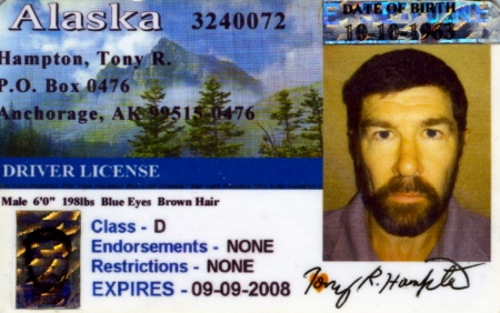 One of the fake driver's licences McNair made while on the lam. He was captured in Campbellton, New Brunswick, Canada by the RCMP in October 2007.
