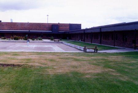 The inner courtyard at the Edmonton Institution. Photo taken in the late 1980s.