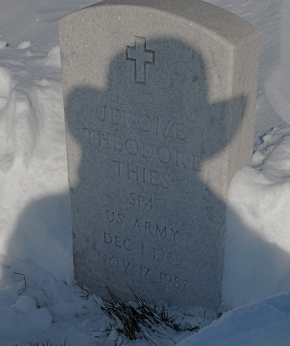 The grave of Gerry Thies, the long-haul trucker McNair murdered at a grain elevator in Minot. Thies, a former soldier in the U.S. Army, is buried at a huge military graveyard south of the Minneapolis Airport.