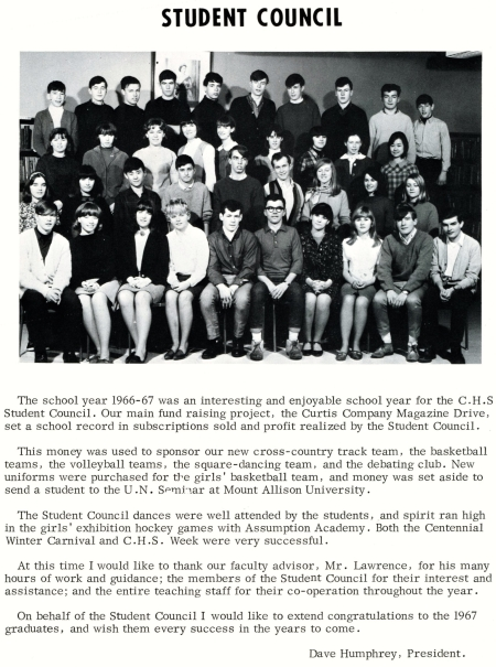 Campbellton High's Student Council in 1967. Brian MacNeish [then a Grade 11 student] is sitting alongside David Humphrey, one of the youngest DJ's in Canada, destined to become a lawyer.