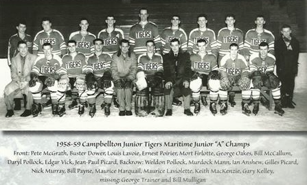 Campbellton Tigers 1958-59. [Note: It should be Ian Anslow, not Anshew]