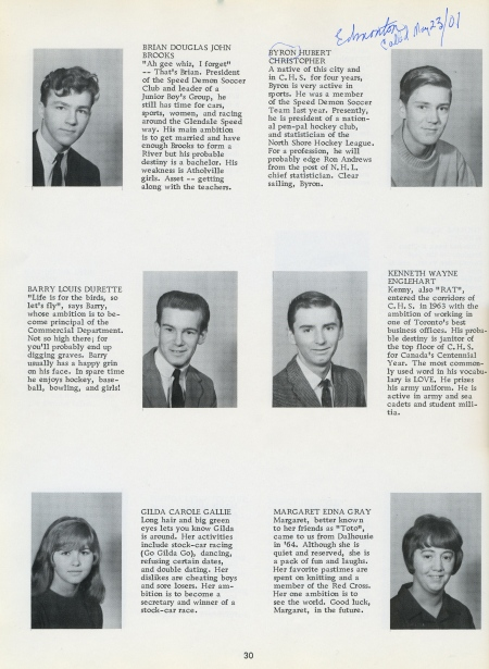 Page 30 of CHS Yearbook. I can tell you where three of the six students are today: Brian Brooks is in Ontario; I'm in Edmonton; Kenny Englehart lives in Cross Point, Quebec [across the river from Campbellton].