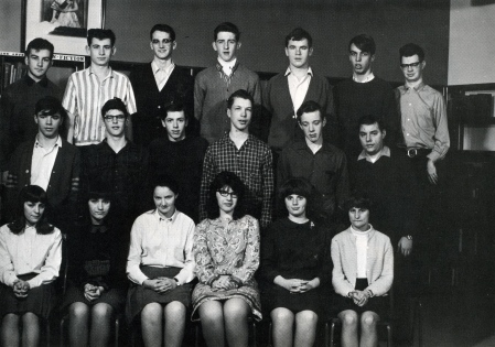 Skill-testing question for any CHS grad who is 64-plus. In this 1967 photo of Grade 11-B is Charlie Thomas, respected Campbellton businessman who passed away in January 2015 ... and Mike Trites, who became an engineer and retired as Deputy Assistant-Minister for the New Brunswick Department of Highways.