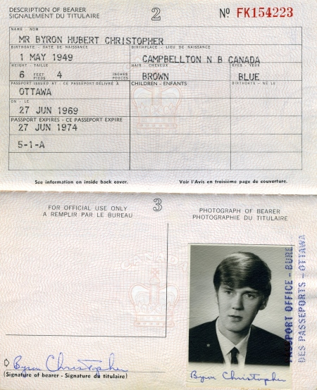 My first passport, issued in 1969. If you were to peel off the photo and check the back of it, you would see the signature of Lou Bursey. He was my 'guarantor.'