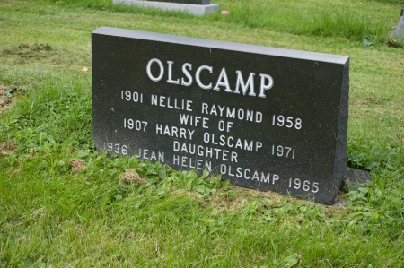 The Olscamp gravestone in Tide Head, just west of Campbellton. Every time I'm back 'home' I stop her to say 'hi' to Jean.