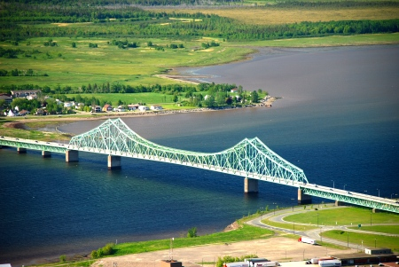 Another Campbellton landmark: the J.C. Van Horne Bridge, which spans the Restigouche River, connecting the city to Cross Point, Quebec.