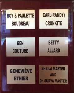 Plaque at Campbellton Centennial Library honouring Ms. Ethier's contribution.