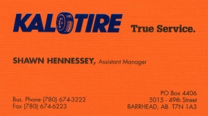 Business card of Shawn Hennessey, who worked at a tire shop in Barrhead, Alberta.