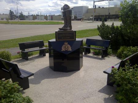 Outside the RCMP Detachment in Whitecourt, Alberta. Constable Anthony Gordon was stationed at Whitecourt.