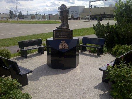 Outside the RCMP Detachment in Whitecourt, Alberta. Constable Anthony Gordon was stationed at Whitecourt.