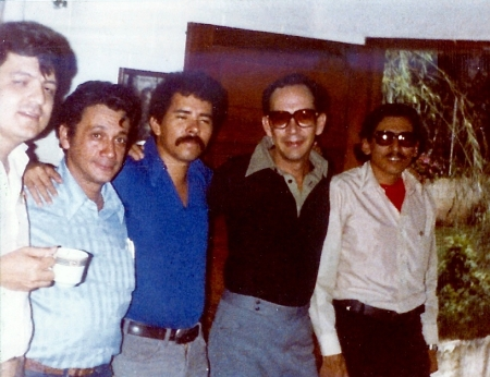 3AM and everyone's pooped. Left to right: Doctor Sergio Ramirez Mercado [who became one of the 5 leaders of the Provisional Government, also served as Vice President of Nicaragua; FSLN Commander Victor Tirado, Commander Daniel Ortega [current president of Nicaragua]; future Sandinista diplomat Pastor Valle-Garay; FSLN Commander Humberto Ortega [Daniel's older brother], soon to become Nicaragua's Minister of Defence.