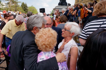 Former Edmonton Mayor Jan Reimer greets former NDP MLA Alex MacEachern.