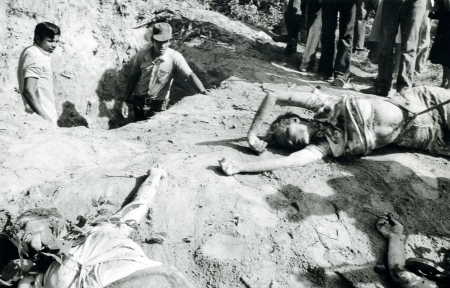 Two of the four American church women murdered in El Salvador in March 1980 were Maryknoll Sisters. They'd been raped and murdered by a death squad whose members were armed, trained and funded by the United States. One caption for his image was titled