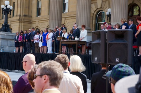 The NDP cabinet on the steps of the Legislature