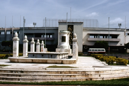 The main stadium in Managua. Notice the letters S-O-M-O-S-A have been removed from the top of the stadium. Somoza's statue was also torn down from the pedestal.