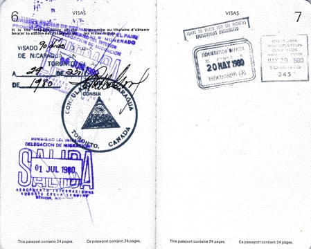 My visa to enter Nicaragua, good for 90 days. Note the stamp 'Consul General of Nicaragua, Toronto, Canada' and the signature of Pastor Valle Garay. 'Salida' is Spanish for 'exit'.