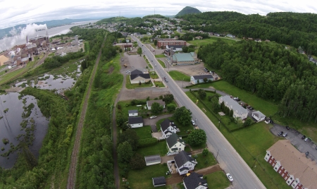 Atholville looking east towards Campbellton. To the left is the pulp mill, the largest employer in the area.