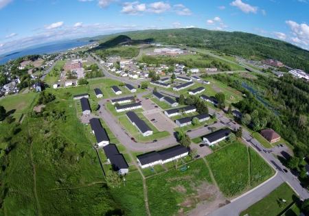 Looking east from above the parking lot of the Sugarloaf High School