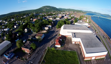 Looking west. The large building on the right is the Campbellton Memorial Civic Centre.