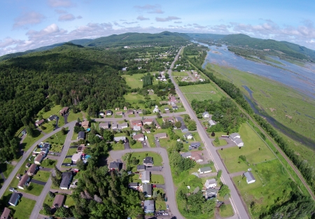 The Phantom does a 180 and gives us a view west, towards Tide Head and the Matapedia Valley.