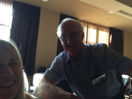 Allan Dickson shares a laugh with Marilyn Burns