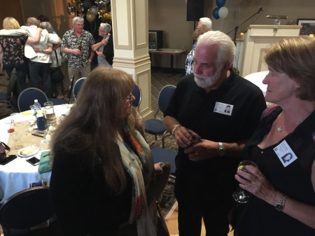 Shirley MacNeish has a quiet word with Bob and Charlene Gerrard.