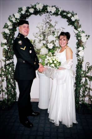Michael and Liana White on their wedding day in Edmonton.