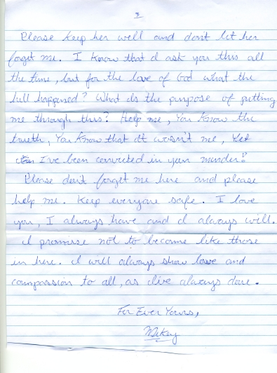 Michael White's letter to Liana - written and received by me in June 2009